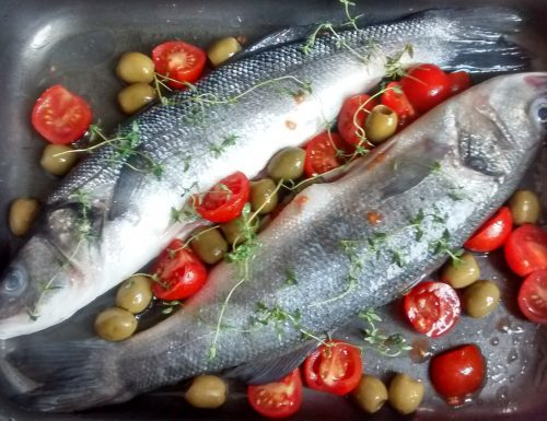 Roasted Branzino (Sea Bass) with Cherry Tomatoes and Olives