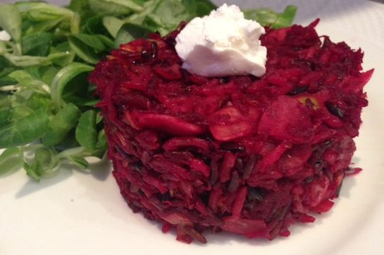 Molded  Beet and Zucchini Rice Cakes