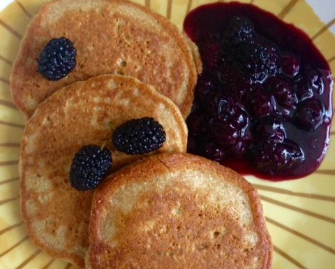 Oat Pancakes with Mulberry Sauce