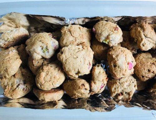 Rhubarb Sourdough Drop Cookies
